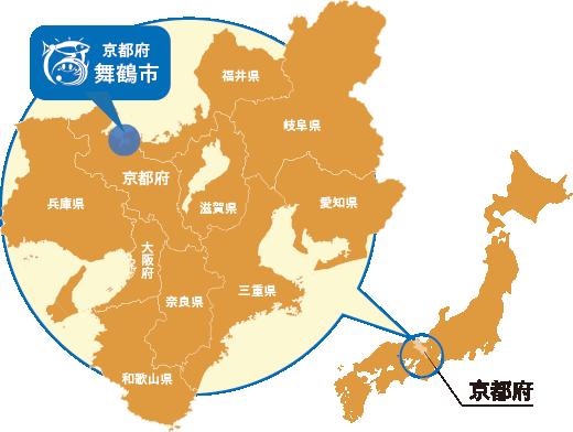 日本地図と京都府・舞鶴市のマップ